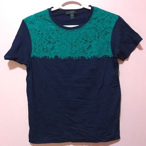 J. Crew navy blue t-shirt with lace